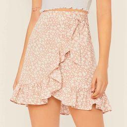 SHEIN Ruffed Ditsy Floral Mock Wrap Skirt | SHEIN