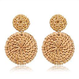 BSJELL Rattan Hoop Earrings Woven Handmade Straw Circle Drop Earrings Hammered Disc Stud Wicker B... | Amazon (US)