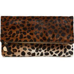 Genuine Calf Hair Leopard Print Foldover Clutch   Nordstrom