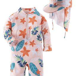 Kid Girls Chic Rash Guard Swimsuit Pool Party Swim Wear Beach Bathing Suit (Coral Flowers and Lea...   Walmart (US)