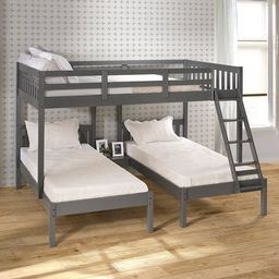 Full over Double Twin Bunk Bed in Dark Grey - Bunk Bed - Standalone Bunk Bed | Overstock