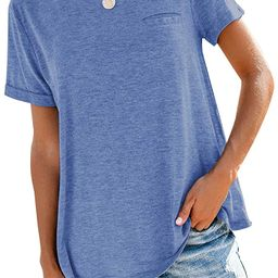 Bingerlily Women's Roll Up Short Sleeve T Shirts Crew Neck Tops Loose Causal Tees with Pocket | Amazon (US)
