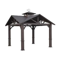 allen + roth Wood Looking Hand Paint Metal Square Semi-Permanent Gazebo (Exterior: 12-ft x 12-ft;... | Lowe's