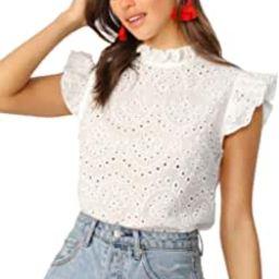 Women's Sleeveless Ruffle Stand Collar Embroidery Button Slim Cotton Blouse Top | Amazon (US)