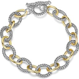 Link Bracelet Two Tone Circles Chain Silver and Gold Wire Cable Bangle Designer Inspired Bracelet...   Amazon (US)