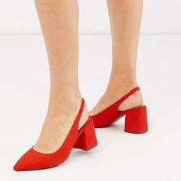 ASOS DESIGN Wide Fit Samson slingback mid heels in red   ASOS (Global)