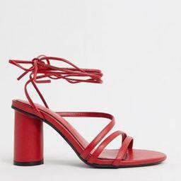 Bershka heel with ankle tie in red   ASOS (Global)