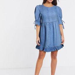 & Other Stories denim frill hem smock dress in blue   ASOS (Global)