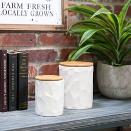 Ceramic Round 2 Piece Kitchen Canister Set Wrought Studio Color: White   Wayfair North America
