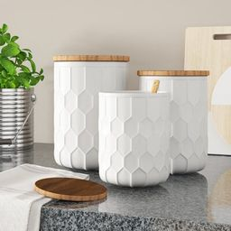 Scandinavian 3 Piece Kitchen Canister Set Mint Pantry Color: White   Wayfair North America