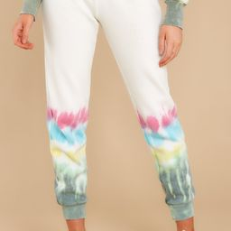 Perfect Day White Multi Tie Dye Joggers | Red Dress