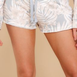 Perfectly Chill Grey Tropical Print Shorts | Red Dress