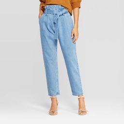 Women's Mid-Rise Straight Leg Paperbag Denim Pants - Who What Wear Blue 8   Target
