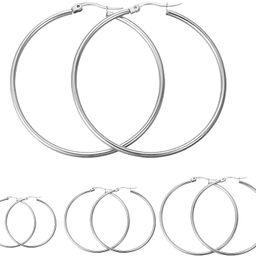 Calors Vitton 4 Pairs Stainless Steel Round Hoop Earrings for Women 15mm-60mm | Amazon (US)