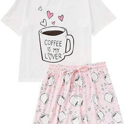DIDK Women's Cute Cartoon Print Tee and Shorts Pajama Set | Amazon (US)
