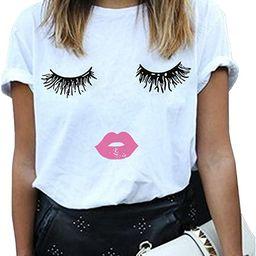 BLACKMYTH Women Summer Funny Print Short Sleeve Top Tee Graphic Cute T-Shirt | Amazon (US)