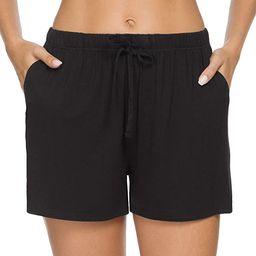 ROSYLINE Elastic Waist Shorts for Women Lounge Short Pajamas Sleep Bottoms with Pocket | Amazon (US)