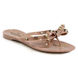 Valentino Women's Valentino Garavani Rockstud Bow Jelly Thong Sandals - Poudre - Size 41 (11) | Saks Fifth Avenue