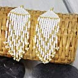 Handmade Gift for girlfriend Golden bridesmaid earrings white gold beadwork party wedding modern jew | Amazon (US)