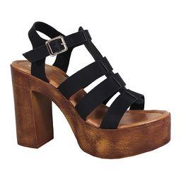 Yoki Women's Sandals BLACK - Black & Brown Strappy Louise Sandal - Women   Zulily