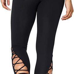 "Amazon Brand - Core 10 Women's (XS-3X) High Waist Yoga Lattice 7/8 Crop Legging - 24"" | Amazon (US)"