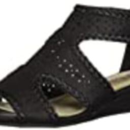 Easy Street Women's Thelma Dress Casual Sandal with Back Zipper Wedge, Black, 5 M US | Amazon (US)