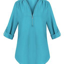 Fee et rit Women's Blouses Sky - Sky Blue Zip-Accent Rolled-Sleeve V-Neck Top - Women | Zulily