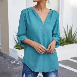 Basico Women's Blouses Sky - Sky Blue Zip-Neck Roll-Tab Tunic - Plus | Zulily