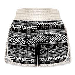 UDEAR Women's Casual Shorts Print - Black & White Elephant Shorts - Women & Plus | Zulily