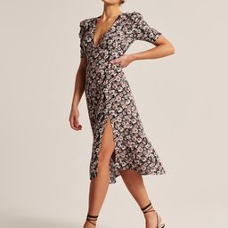 Cinched Sleeve Midi Dress | Abercrombie & Fitch (US)