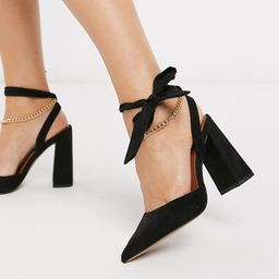 ASOS DESIGN Wide Fit Wholesome pointed block heels with chain anklet in black | ASOS (Global)