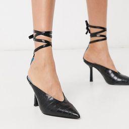 ASOS DESIGN Piper tie leg mid heels in black croc | ASOS (Global)