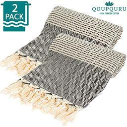 QoupQuru Turkish Bath Towels – 2 Pack Peshtemal Towel Set – 100% Turkish Cotton – Light Wei... | Amazon (US)