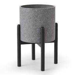 Hakuun Tall Terrazzo Plant Pot with with Rubberwood Legs, Grey & Black | MADE.COM (UK)