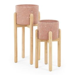 Hakuun Set Of Two Terrazzo Plant Pots With Rubberwood Legs, Pink | MADE.COM (UK)
