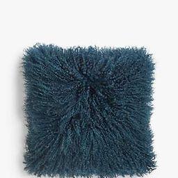 John Lewis & Partners Mongolian Sheepskin Cushion, Loch Blue | John Lewis UK