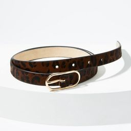 Leopard Print Haircalf Oval Buckle Belt | LOFT