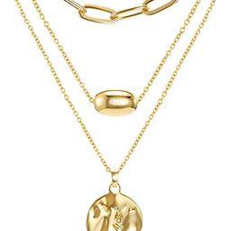 FAMARINE Gold Layered Pendant Long Necklace, Chain CZ Teardrop and Filigree Pendant Costume Jewel... | Amazon (US)