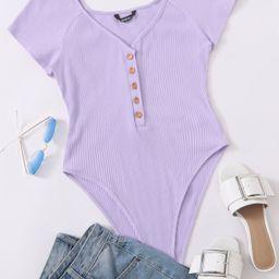 SHEIN Raglan Sleeve Button Front Rib-knit High Cut Bodysuit | SHEIN