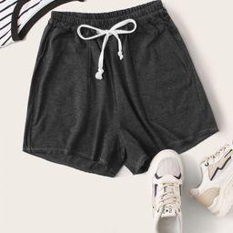 Slant Pocket Drawstring Waist Track Shorts | SHEIN