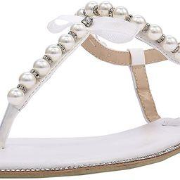 SheSole Women's Pearl T-Strap Bridal White Flat Sandals Beach Wedding Shoes | Amazon (US)