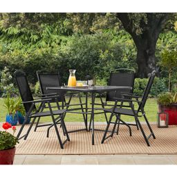 Mainstays Heritage Park Outdoor Patio 5 Piece Dining Set, 4 person seating, Black | Walmart (US)