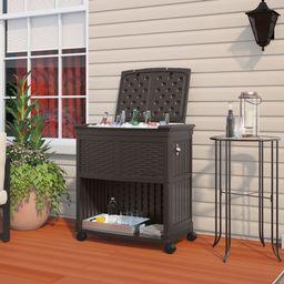 Suncast 85 Quart Resin Backyard Entertaining Cooler Station with Wheels | Walmart (US)