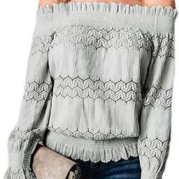 Women Off Shoulder Blouse Sexy Lace Crochet Tops Long Sleeve Ruched Shirt | Amazon (US)