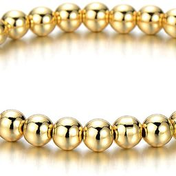 COOLSTEELANDBEYOND Gold Color Beads Bracelet for Women Men | Amazon (US)
