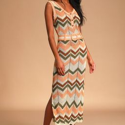 Illea Cream Multi Crochet Belted Maxi Dress | Lulus (US)