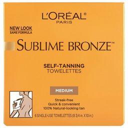 L'Oreal Paris Sublime Bronze Self-Tanning Towelettes Medium Natural Tan -6ct   Target
