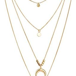 Gold Layered Necklace Pendant Shell Moon Star Coin Round Simple Dangle Bar Necklace Chain for Wom... | Amazon (US)