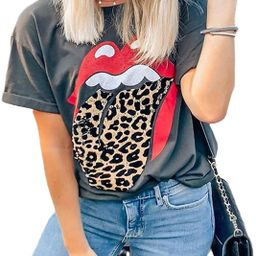 Mansy Womens Red Lips Leopard Print Tongue T-Shirts Summer Cute Short Sleeve Cheetah Animal Print... | Amazon (US)