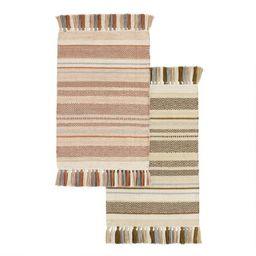 Striped Woven Cotton Area Rug   World Market